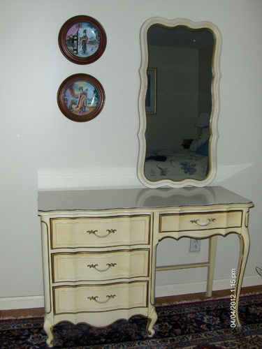 French Provincial Dresser Vanity Desk And Mirror