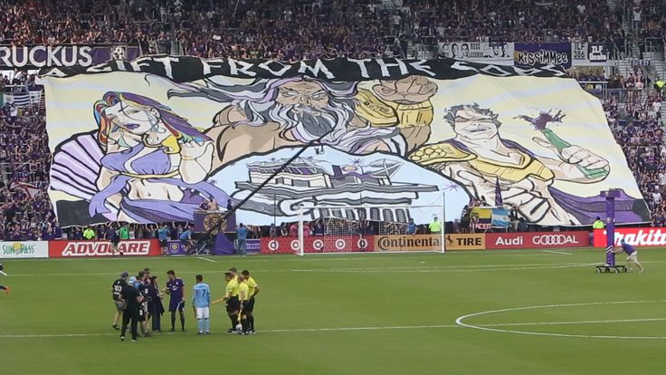 "Orlando City: ""The Wall"" supporter section unveils tifo 'A Gift from the Gods' to christen their new 26,000 seat dedicated stadium. The music that followed shortly after was Carl Orff's ""O Fortuna"" - great job, Lions! ~ Soccer / Football / Orlando City Lions"