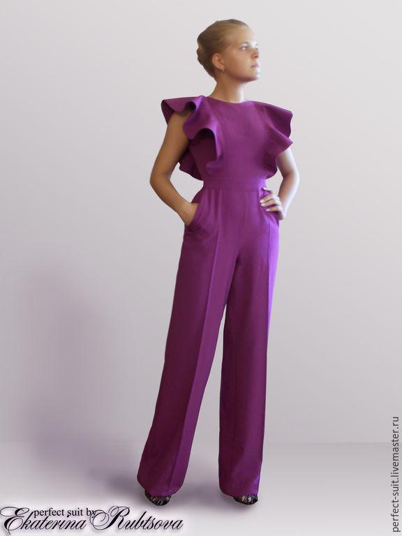 """Купить """"Виктория"""" - фиолетовый, однотонный, комбинезон, вечерний комплект, стильный комбинезон, шик, гламур, лиловый"""