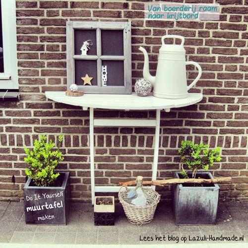 """Lees het DIY blog """"van tuintafel naar muurtafel"""" en maak een krijtbord van een boerderij raam. Laat je inspireren en pimp je tuin! http://lazuli-handmade.nl/van-tuintafel-naar-muurtafel/"""