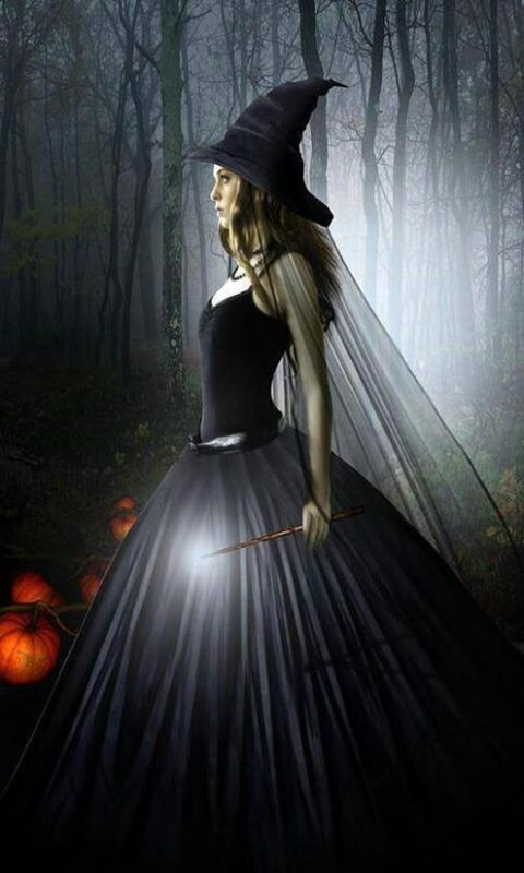 witch in forest halloween prints Pinterest Skirts