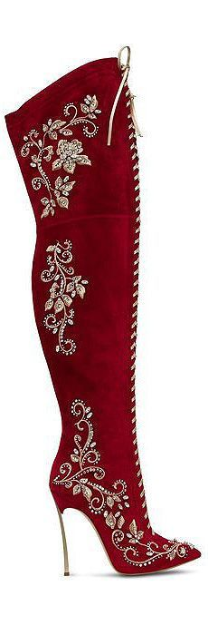 Embroidered over-the-knee red boots: white and gold detailing . . . just gorgeous!