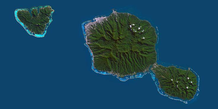 Tahiti and Moorea, French Polynesia - PlanetSAT satellite image.