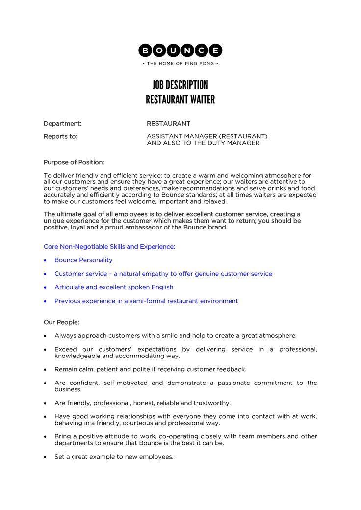 Sample Restaurant Waiter Job Description How to create a