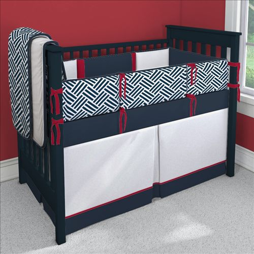 Navy is the hot color in the nursery for 2014, and we love the Americana feel of this bedding from @Carousel Designs! #munire #pinparty #MadeInUSA: Customizable Crib, Crib Bedding Sets, Nurseries, Red And Blue Crib Bedding, Nursery Ideas, Blue Nursery, Carousel Designs, Baby Boy, Baby Cribs