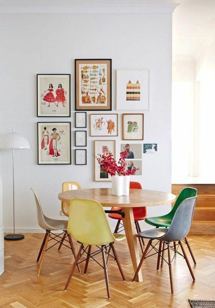 bunte küche einrichten farbige stühle runder esstisch