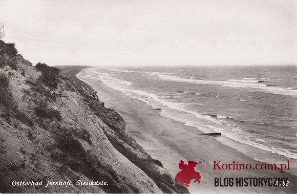 Ostseebad Jershöft Steilküste Pocztówka datowana na 1940 rok z Jarosławca. Wydawnictwo: M. Zuhlke, Lindenhotel, Jershöft i/Pom.