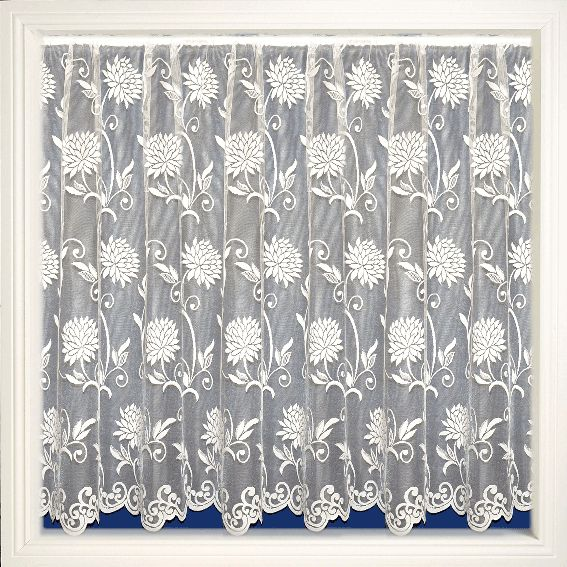 Net Curtain 104 (large flower print) Pattern '104' Available in the following drop lengths – 36″, 40″, 45″, 48″, 54″, 72″, 90″ Curtains are 100% Polyester – Hand Washable at 30 degrees
