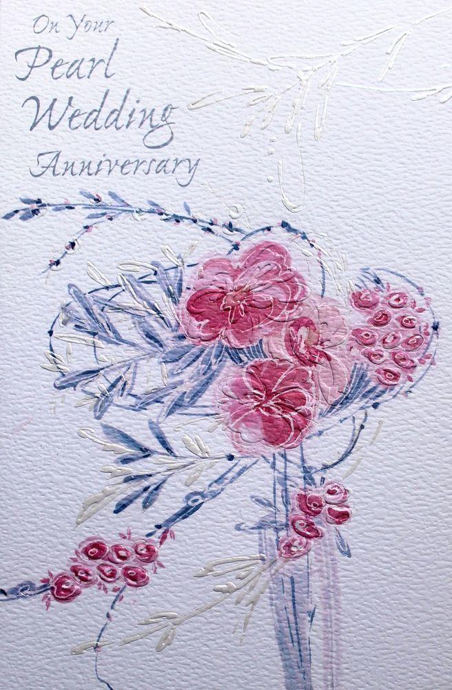 wedding anniversary greeting cardhusband%0A On your Pearl Wedding Anniversary greeting card  u     envelope  flowers theme