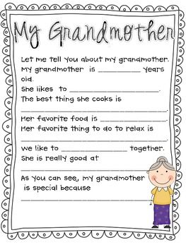 Mother's Day Questionnaire, Survey and Poem ( Grandmother