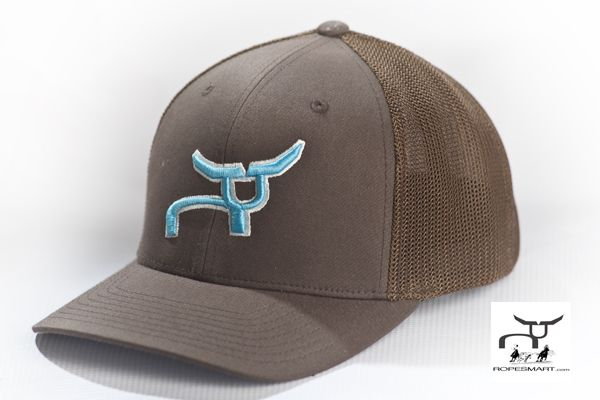 Flexfit Brown Cap with Teal RopeSmart Steer   Team roping rodeo hat