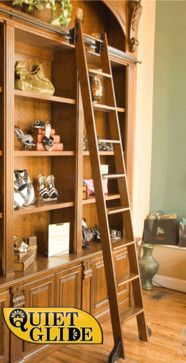 Rolling Library Ladder Kit, 8' Cherry - modern - ladders and step stools - Rolling Library Ladder Kits