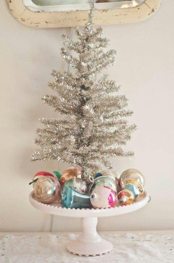 Sweet tinsel tree arrangement