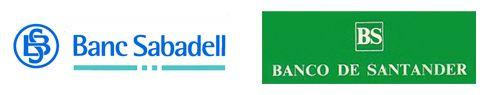 Primeros logos Banc Sabadell y Banco Santander