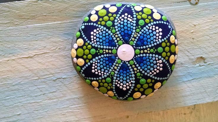 Large Hand Painted Stone Colorful Dot Art Turquoise Aqua Flower Painted Rock Coastal Home Decor Chevron Mandala by P4MirandaPitrone on Etsy More