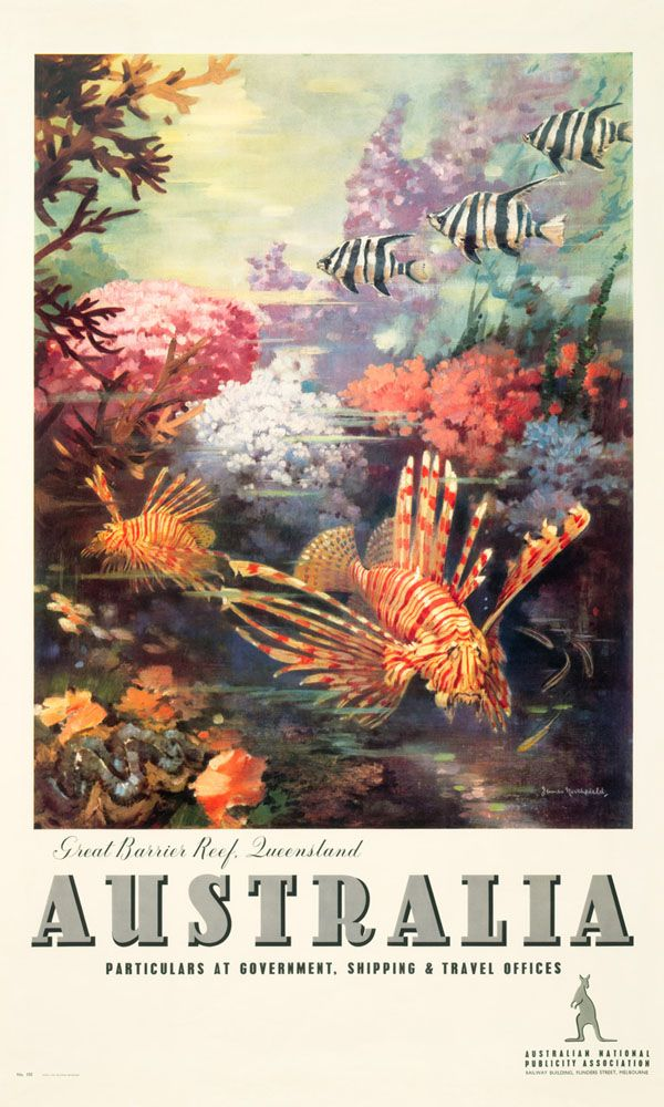 'Great Barrier Reef' vintage Australian advertising poster, by James Northfield – reproduced under license by Australian Vintage Posters