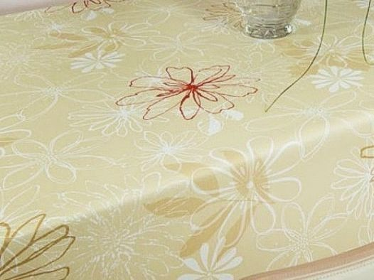 Ubrus PVC s textilním podkladem 5732620, béžový květ, š.140cm (metráž) | Internetový obchod Chci POVLEČENÍ.cz