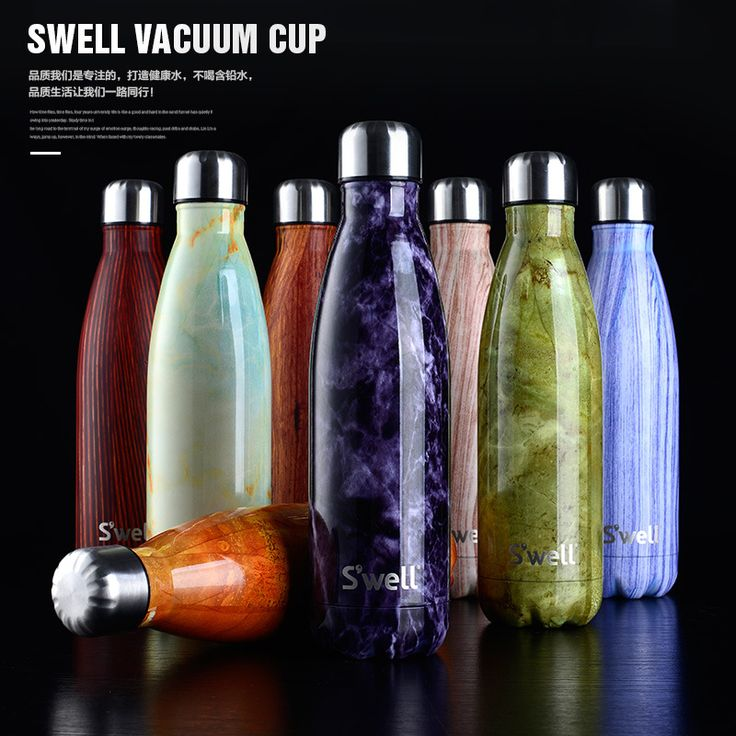 Vacuum insulated stainless steel water bottle double wall Swell bottle Wood grain marble Creative straight bowling Drinking cup