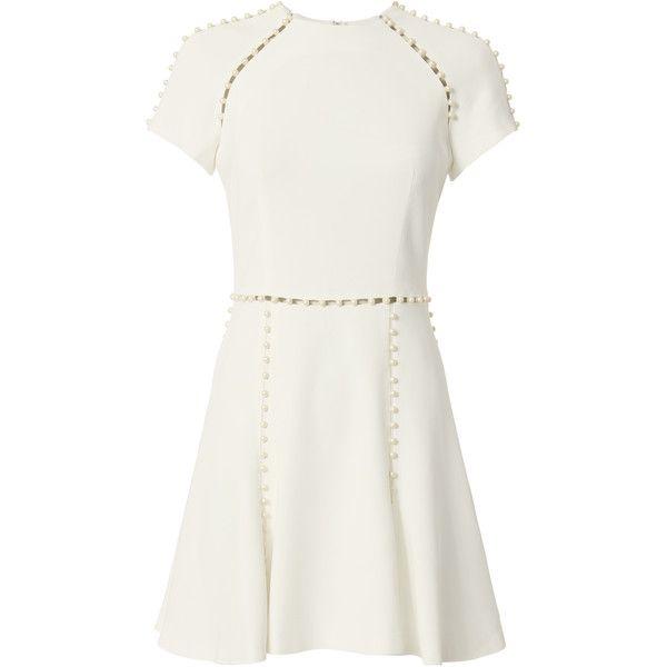 White Pearl Mini Dress (€650) ❤ liked on Polyvore featuring dresses, white, cut out dresses, short a line dresses, short white dresses, cutout dresses and a line mini dress