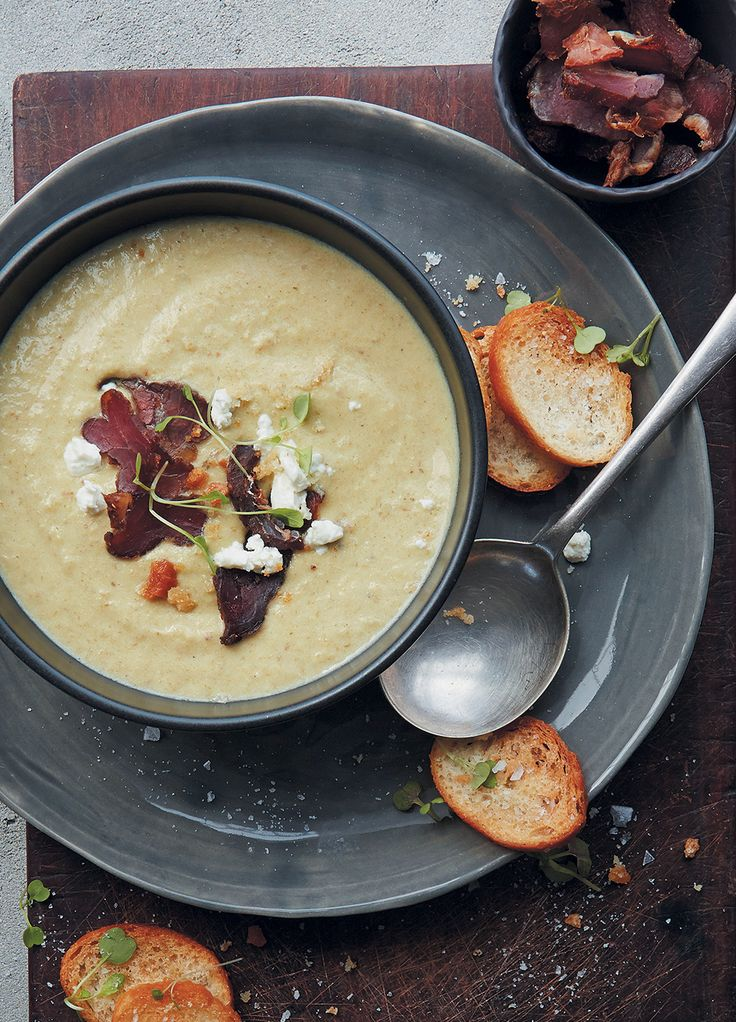 Creamy fennel, biltong and goat's cheese soup