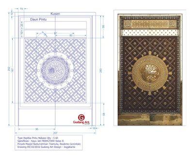 Desain Pintu Masjid Ornamen Pintu Nabawi Masjid Baiturrahman Tilamuta, Boalemo