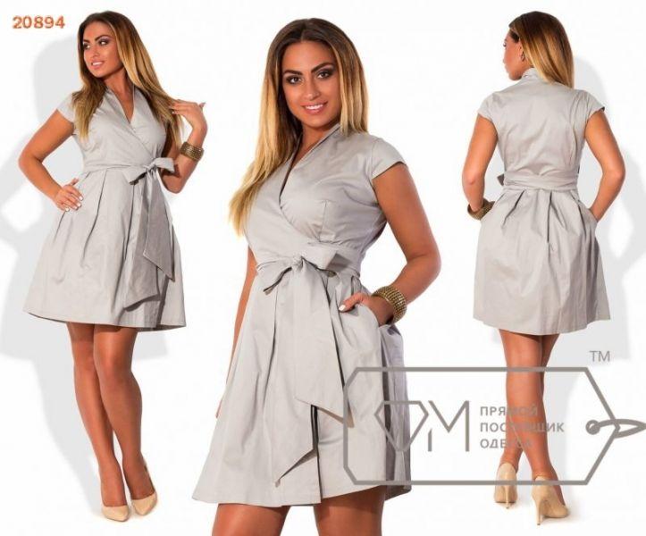 Платье женское с карманами и расклешенной юбкой декольте на запах серое