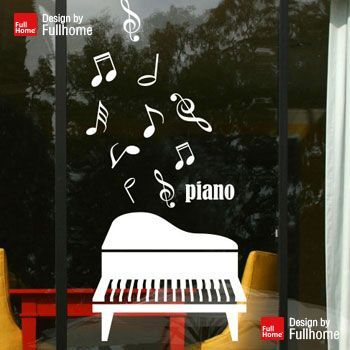 Piano Shop glass decorative wallpaper paste notes stickers music school training classroom door against the wall sticker