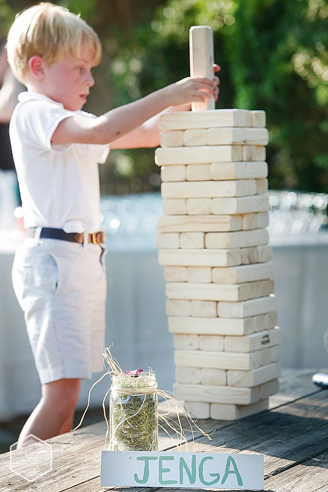 Yard Games for our outdoor reception - Giant Jenga set up on a picnic table