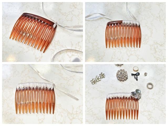 DIY embellished hair combs