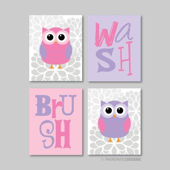 Kind-Badezimmer-Kunst - Kind Badezimmer Dekor - Owl Bad Art - Owl Bad Dekor - Badezimmer Regeln - Rosa-Lila - wählen Sie die Größe (NS-588)