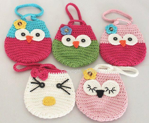 Girl Kids Handmade Crochet Cute Owl /Cat Handbag Purse Wallet Bag B109