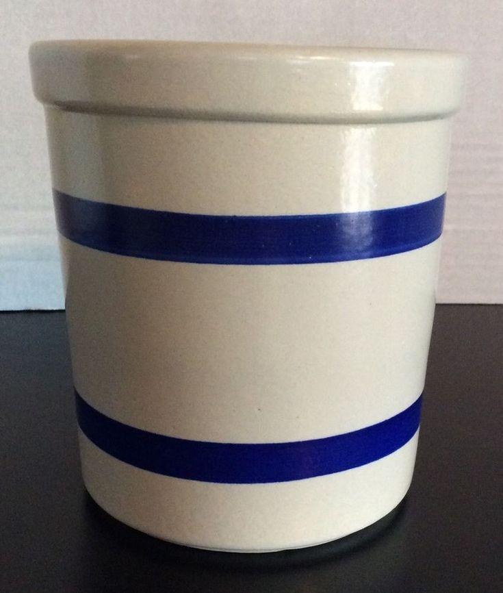 "Vintage RRP Roseville Ohio Stoneware Pottery 1pt Blue Stripe Crock Bowl USA 4.5""  | eBay"