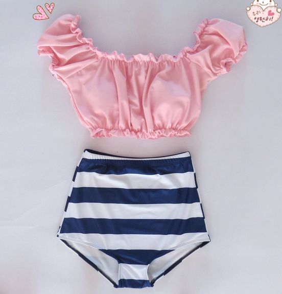 2-piece set includes top and high waisted bikini bottom.  ships 10-20 business days from date ordered.