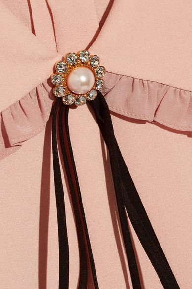 Miu Miu - Embellished Ruffled Silk-trimmed Crepe Top - Blush - IT46
