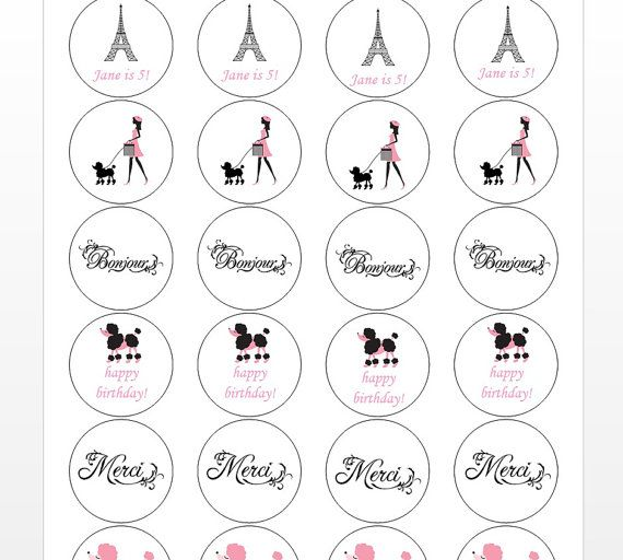 24 Paris Stickers Paris Theme First Birthday by thepartypenguin