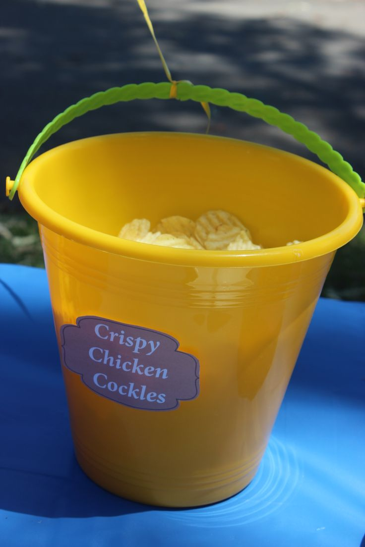 Play on Words Crispy Chicken Cockles Bucket from Kmart to add to the theme