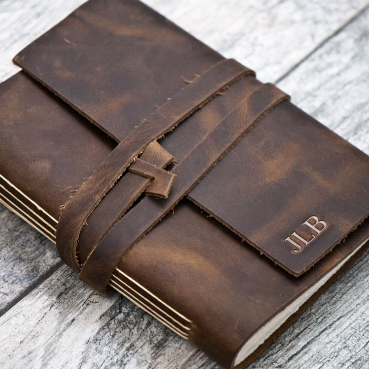 Rustic Brown Personalized Leather Journal with Initials / Name / Date (wrap closure)