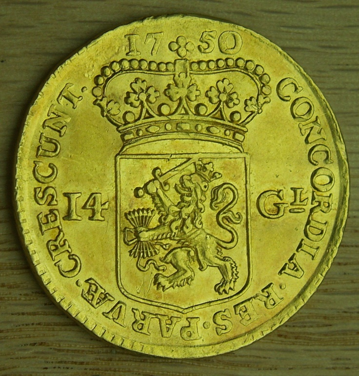 Gold 1750 Netherlands Holland 14 Gulden KM 97 | eBay