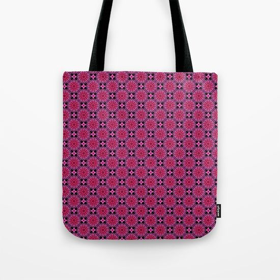 """Medallion Pattern Magenta Tote Bag by Terrella.  Our quality crafted Tote Bags are hand sewn in America using durable, yet lightweight, poly poplin fabric. All seams and stress points are double stitched for durability. Available in 13"""" x 13"""", 16"""" x 16"""" and 18"""" x 18"""" variations, the tote bags are washable, feature original artwork on both sides and a sturdy 1"""" wide cotton webbing strap for comfortably carrying over your shoulder."""