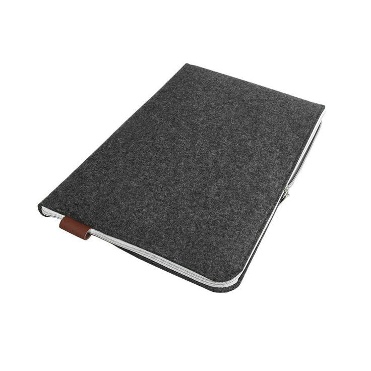 FELT LAPTOP SLEEVE 02 Macbook Cover Dark Gray Fet White Zipper all laptops sizes by PurolDesignBags on Etsy