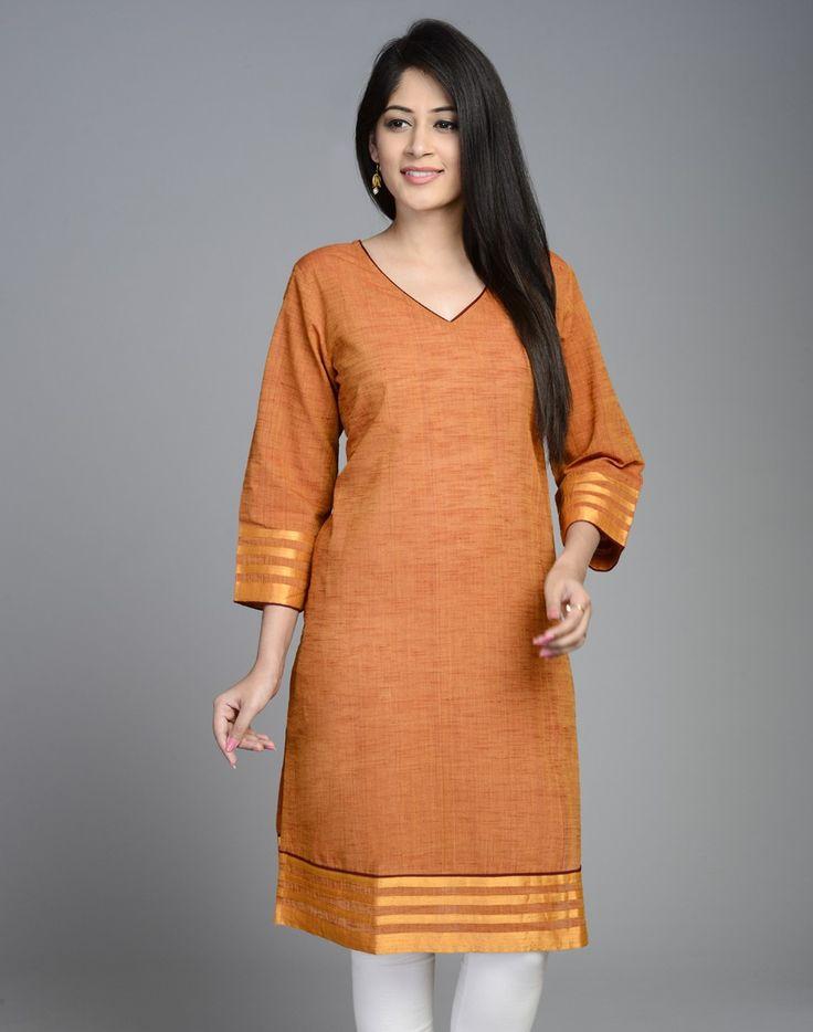 This elegant plain mini kurta is made using cotton mangalgiri fabric. The multi zari border accentuate the look of the kurta.  Cotton V Neck 3Q Sleeves Hand Wash Separately in Cold Water