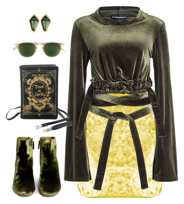 """""""Yellow Skirt and Green Top"""" by dobesht on Polyvore featuring Y/Project, Aquazzura, Garrett Leight and Robert Lee Morris"""