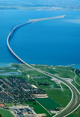 Is it a bridge? Is it a tunnel? Is it both?! It's Øresundsbron, it connects Kopenhagen to Malmo (and then Sweden).