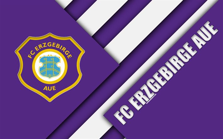 Download wallpapers FC Erzgebirge Aue, logo, 4k, German football club, material design, purple abstraction, Aue, Germany, Bundesliga 2, football