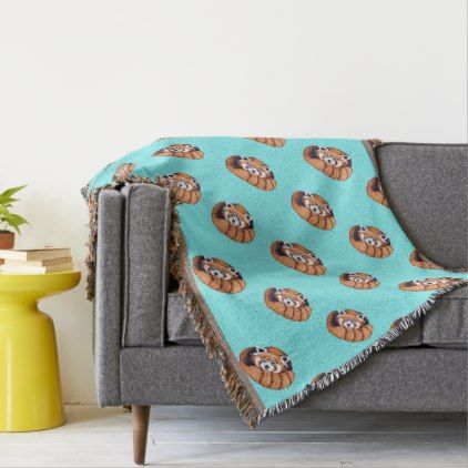 Red Panda bear on turquoise Throw Blanket - red gifts color style cyo diy personalize unique