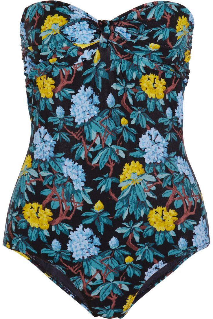 Miu Miu|Floral-print bandeau swimsuit|NET-A-PORTER.COM
