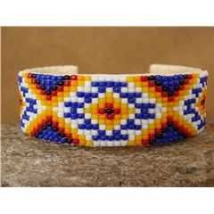Navajo Indian Sterling Silver Hand Beaded Bracelet by Lucille Ramone