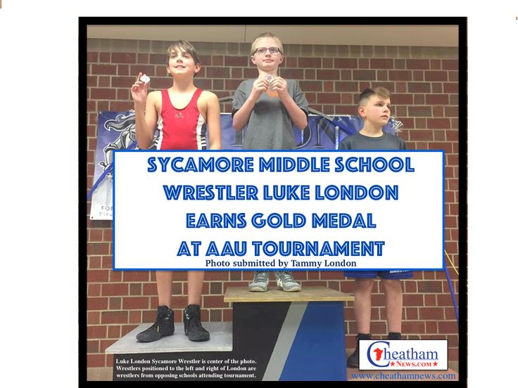 Sycamore Middle School Wrestling team's Luke London earns gold medal in weight class of AAU Wrestling Tournament December 10, 2016.
