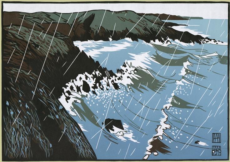 """Porth y Chain"" linocut by Ian Phillips. http://www.reliefprint.co.uk/ Tags: Linocut, Cut, Print, Linoleum, Lino, Carving, Block, Woodcut, Helen Elstone, Rocks, Waves, Sea, Rain, Wales, Welsh."