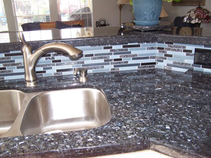 Blue Pearl Granite with matching backsplash